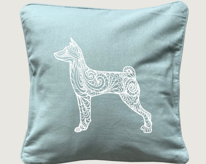 Cushion cover with print Basenji silhouette