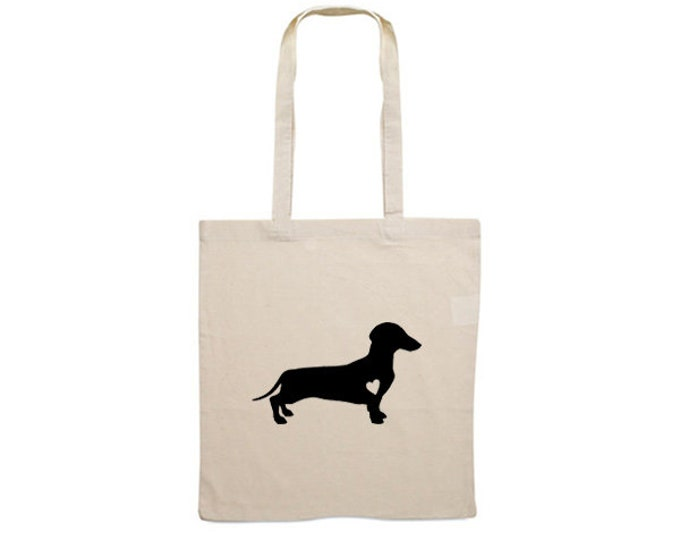 Canvas dog bag smooth-haired Dachshund - Teckel silhouette