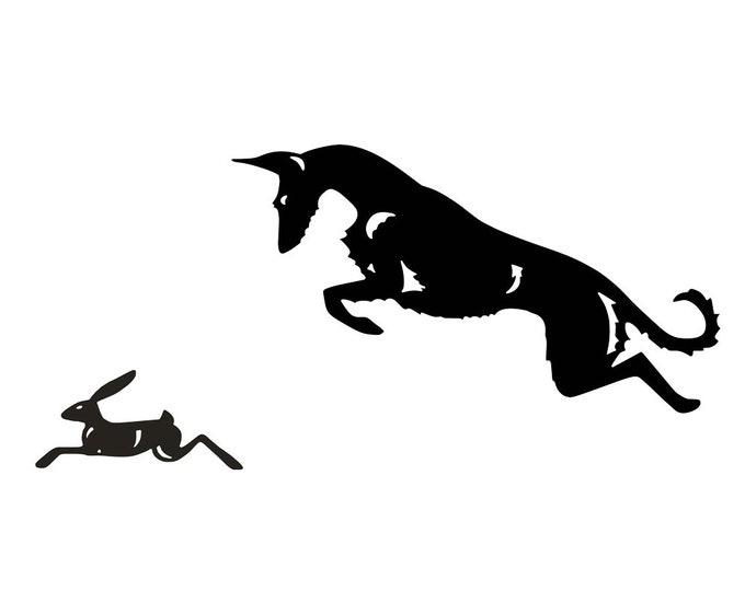 Podenco ibicenco wire haired with hare, dog silhouette sticker, LeChienArtistiQ