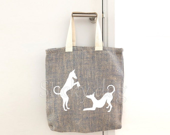 Canvas/jut bag Podenco ibicenco  dog silhouette