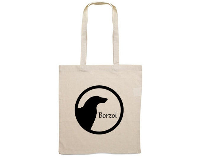 Canvas bag Borzoi dog silhouette