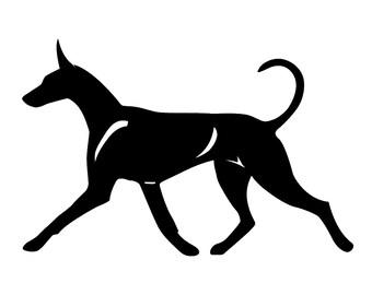 Pharaoh hound silhouette dog sticker, LeChienArtistiQ