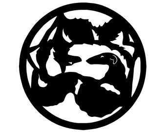 Borzoi circle with wolf dog silhouette, LeChienArtistiQ