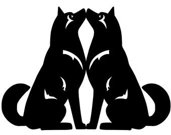 Alaskan Malamute double sitting dog sticker, LeChienArtistiQ