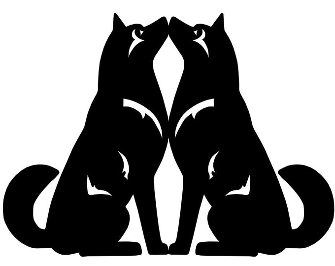 Alaskan Malamute double sitting dog sticker, LeChienArtistiQ