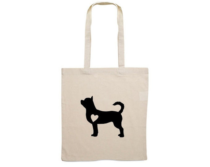 Canvas bag shorthaired Chihuahua silhouette