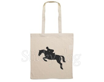 Canvas Jumping horse bag silhouette