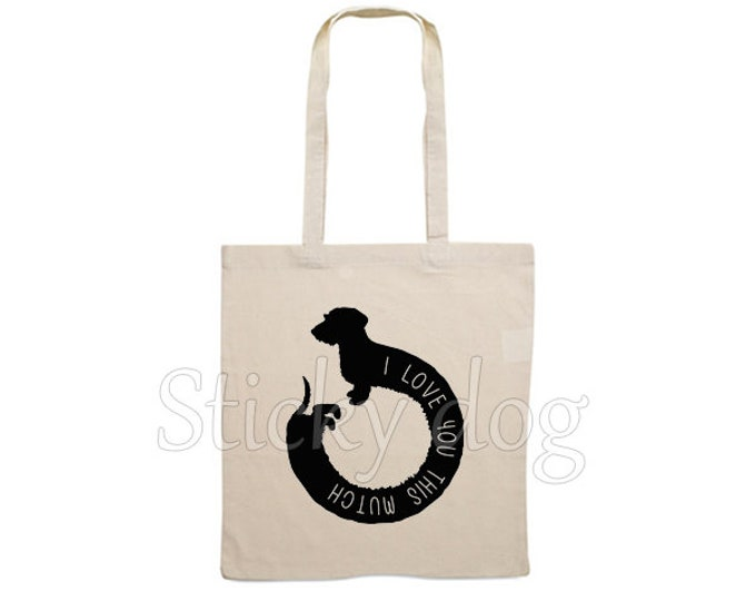 Canvas bag Wire-haired Dachshund - Teckel dog silhouette