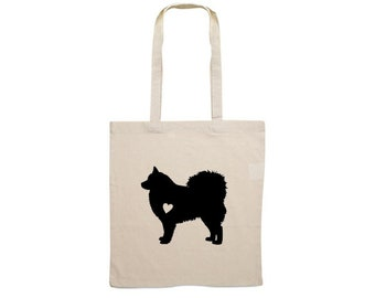 Canvas dog bag Finnish Lapphund silhouette