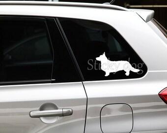 Cardigan Welsh Corgi silhouette dog sticker