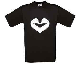 T-shirt Greyhound dog silhouette heart