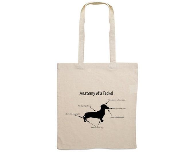 Canvas dog bag smooth-haired Dachshund - Teckel dog silhouette