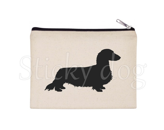 Wire-haired Dachshund - Teckel dog silhouette pencil bag/ Beaty case / pouch