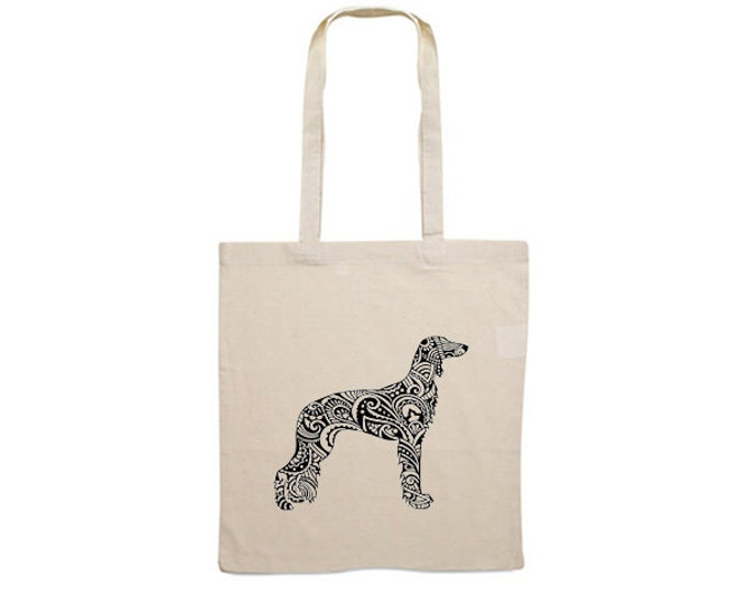Canvas dog bag Saluki silhouette