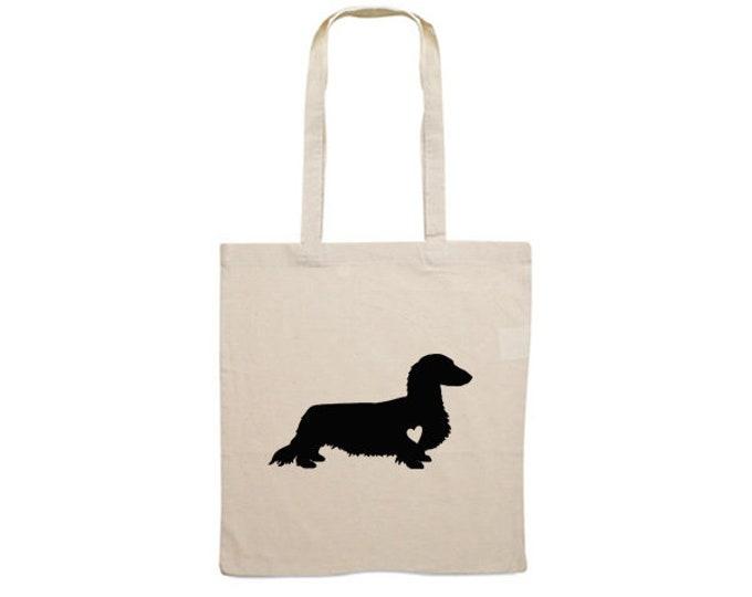 Canvas bag long-haired Dachshund - Teckel dog silhouette