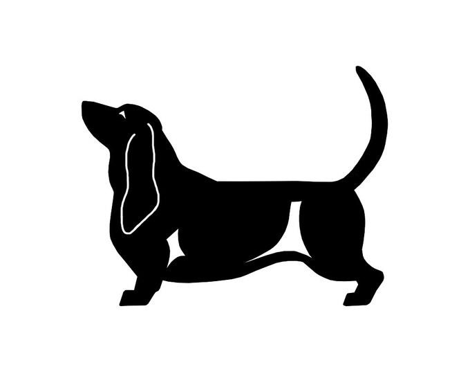Basset Hound dog silhouette sticker, LeChienArtistiQ