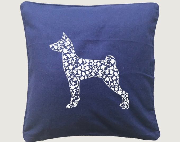 Cushion cover with print Basenji dog silhouette