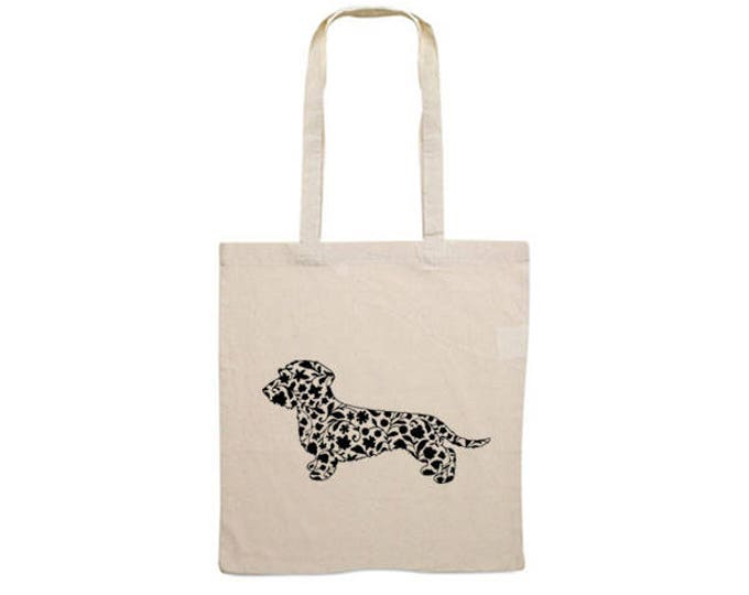 Canvas dog bag Wire-haired Dachshund - Teckel dog silhouette