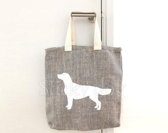 Canvas/jut bag Finnish Golden retriever dog silhouette