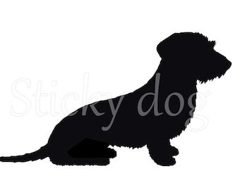 Wire-haired Dachshund - Teckel silhouette dog sticker