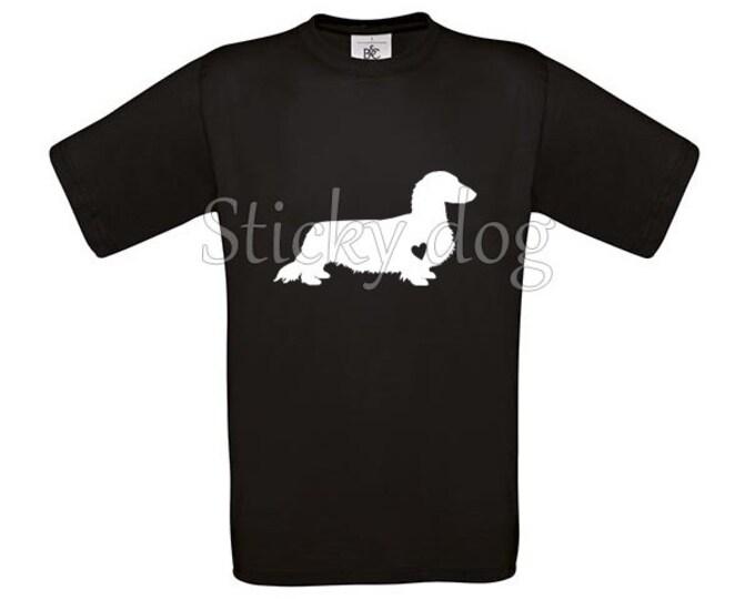 T-shirt Long-haired Dachshund - Teckel silhouette
