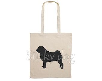 Canvas bag Pug dog silhouette