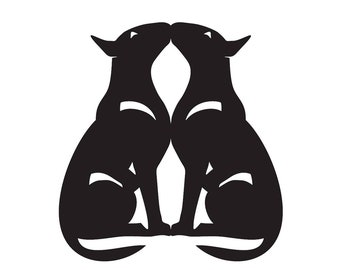 Bull Terrier double sitting dog silhouette, LeChienArtistiQ