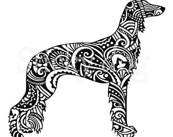 Saluki persian patron dog silhouette sticker