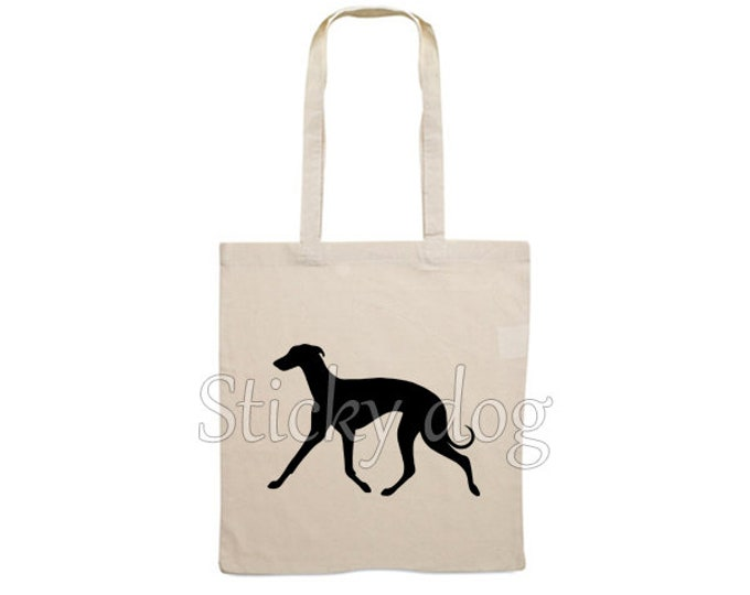 Canvas bag Whippet walking dog silhouette