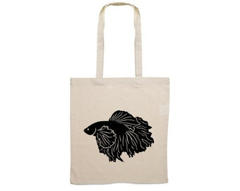 Canvas bag Siamese fighting fish silhouette