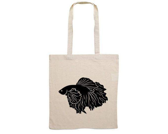 Canvas bag Siamese fighting fish silhouette