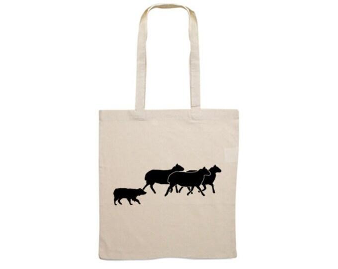 Canvas bag Australian Shepherd dog silhouette