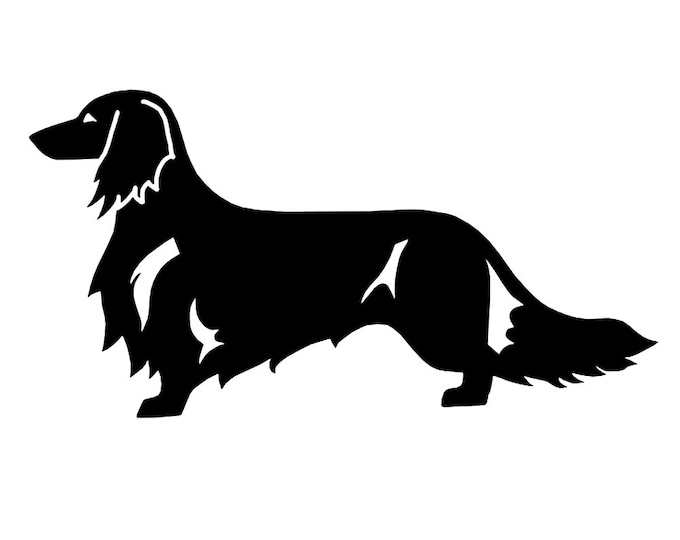 Long-haired Dachshund - Teckel sticker dog silhouette, LeChienArtistiQ