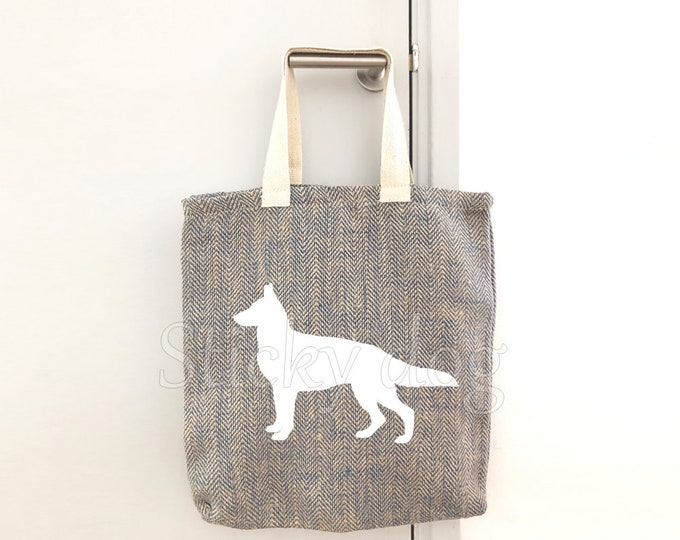 Canvas/jut bag German Shepherd  dog silhouette