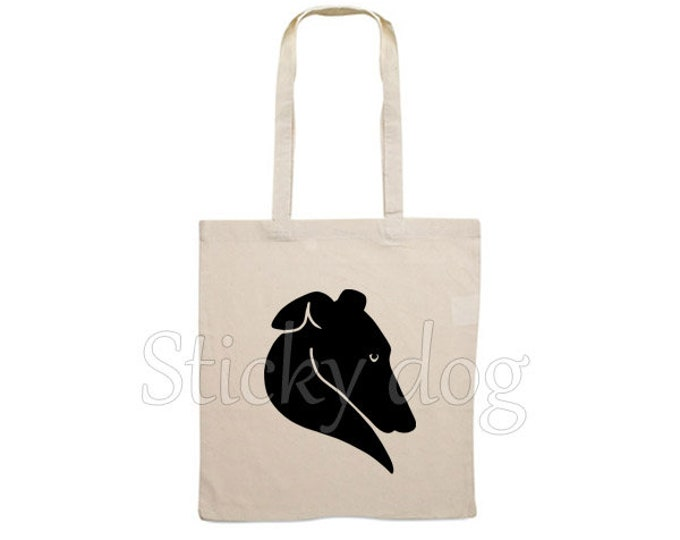 Canvas dog bag Greyhound heart silhouette