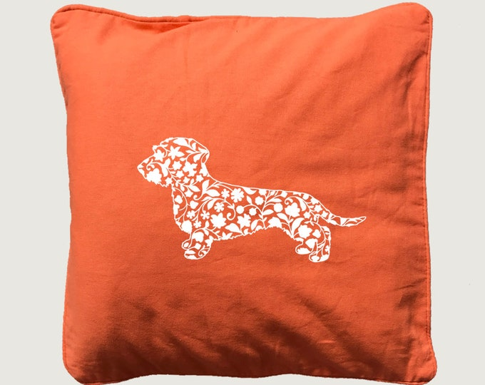 Cushion cover with print Wire-haired Dachshund - Teckel  silhouette