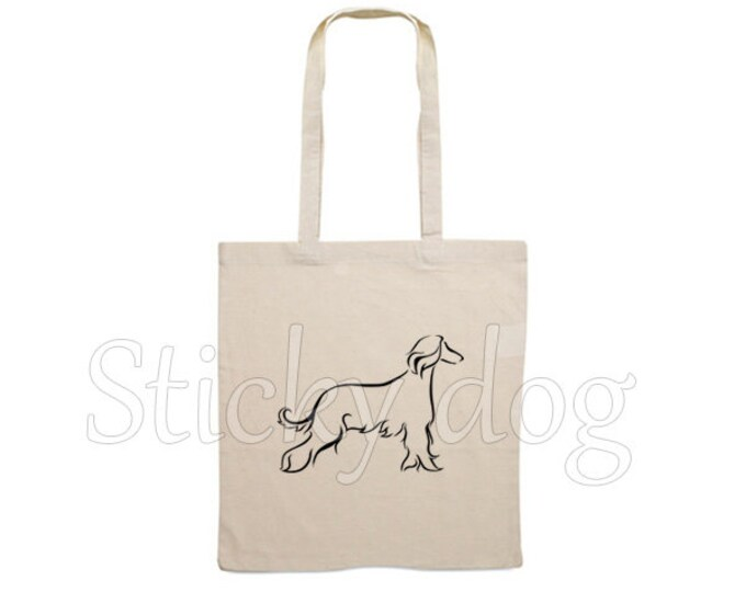 Canvas bag Afghan hound dog silhouette