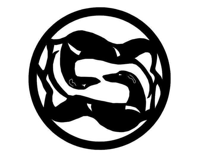 Greyhound in circle dog silhouette, LeChienArtistiQ