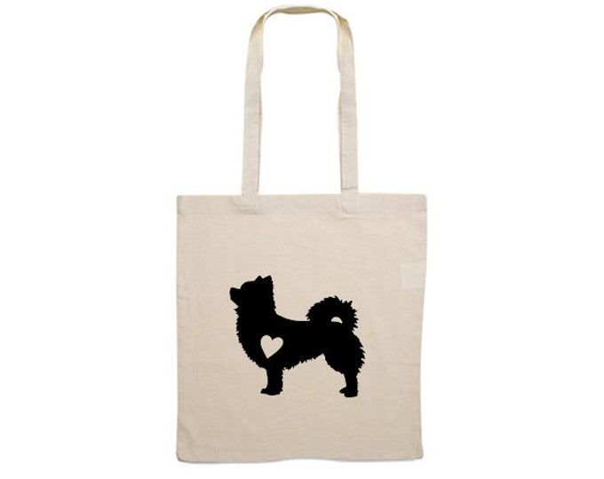Canvas bag longhaired Chihuahua silhouette