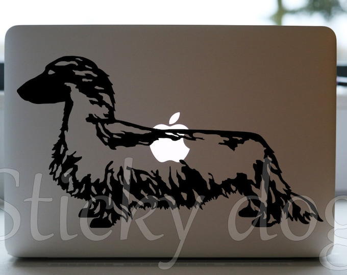 Long-haired Dachshund - Teckel dog silhouette sticker
