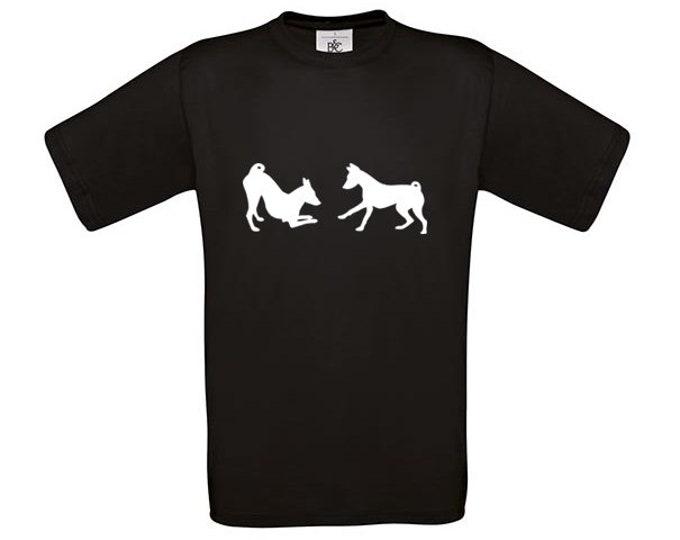 T-shirt Basenji playing dog silhouette