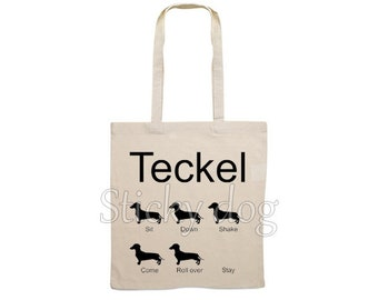Canvas bag smooth-haired Dachshund - Teckel dog silhouette