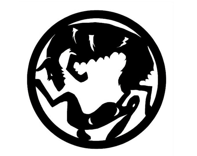 Podenco ibicenco circle with rabbit dog silhouette, LeChienArtistiQ