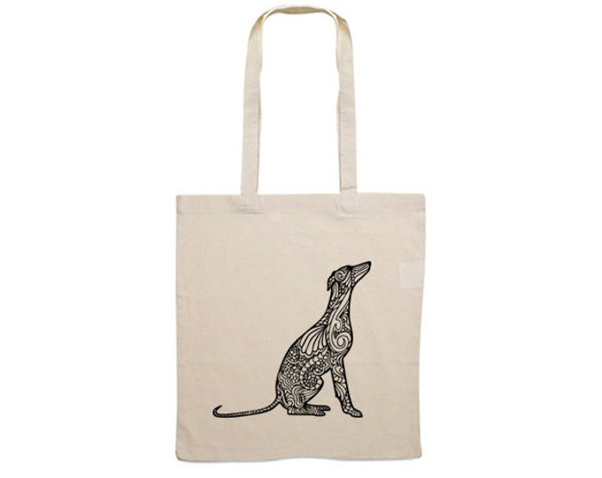 Canvas bag Whippet silhouette