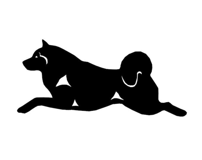 Alaskan Malamute silhouette dog sticker, LeChienArtistiQ
