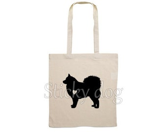 Canvas dog bag Finnish Lapphund silhouette