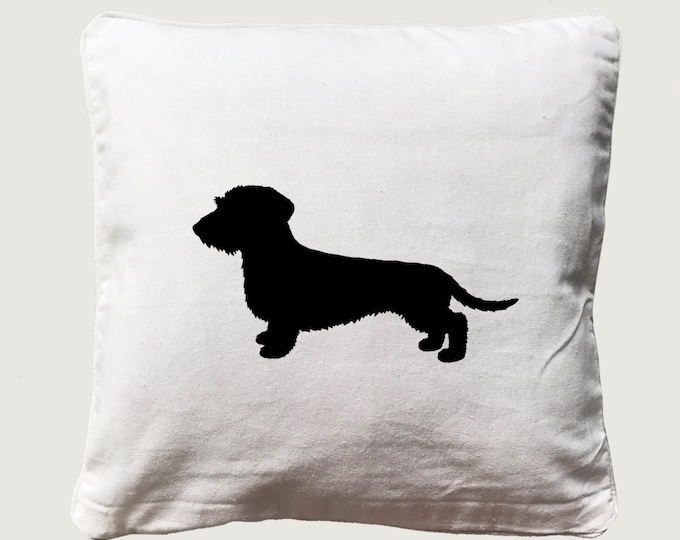 Cushion cover with print Wire-haired Dachshund - Teckel  dog silhouette