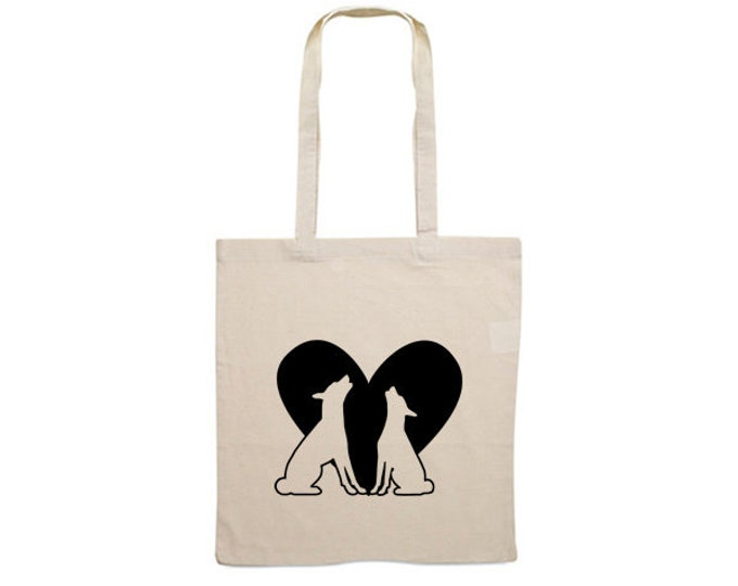 Canvas bag Basenji dog silhouette