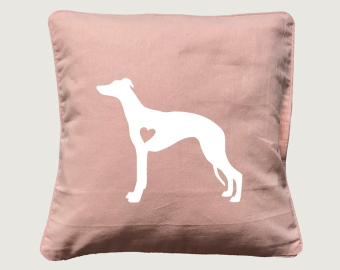 Cushion cover with print Whippet dog silhouette