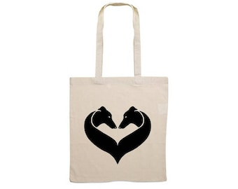 Canvas dog bag Greyhound heart silhouette